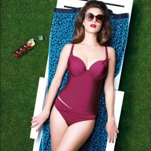 Panache 32DD cranberry wine tankini top